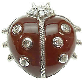 Judith Ripka Sterling Silver Dyed CarnelianLady Bug Pin
