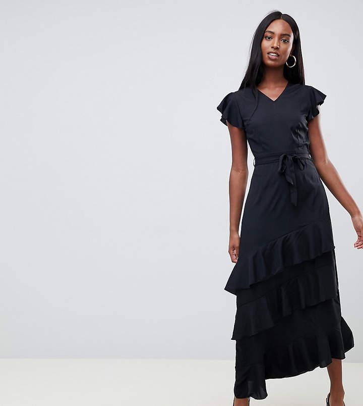Vero Moda Tall Vero Moda tall ruffle sleeve asymmetric maxi dress