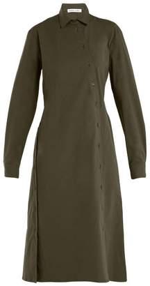 Tomas Maier Asymmetric-buttoned poplin dress