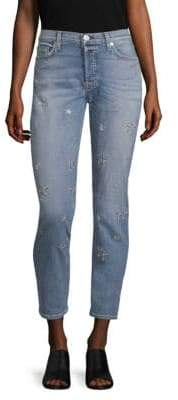 Hudson Riley Star Straight-Leg Ankle Jeans
