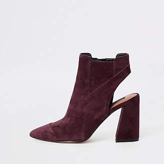 River Island Burgundy suede open back shoe boots
