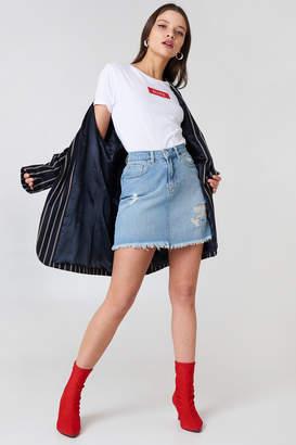 NA-KD Na Kd Destroyed Denim Skirt