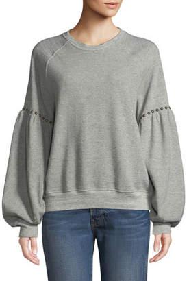The Great Studded Bishop-Sleeve Crewneck Sweatshirt