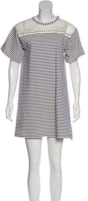 Philosophy di Lorenzo Serafini Lace-Paneled Striped Dress