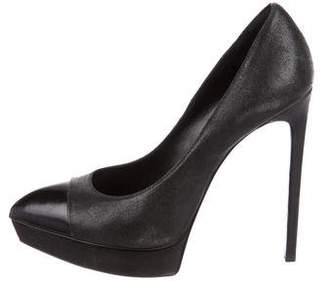 Saint Laurent Platform Cap-Toe Pumps
