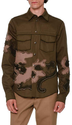 Valentino Unfinished-Hem Panther-Embroidered Military Shirt, Olive