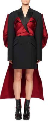 Alexander McQueen Double-Breasted Blazer Mini Cocktail Dress w/ Large Satin Bow