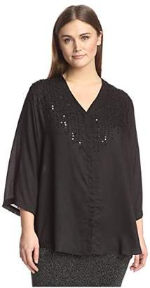 Society New York Plus Women's Embellished Button Front Shirt