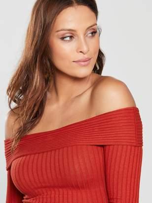 Miss Selfridge Long Sleeve Fold Over Jersey Rib Bardot Top