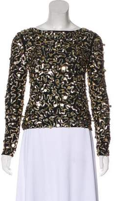 Alice + Olivia Embellished Long Sleeve Top