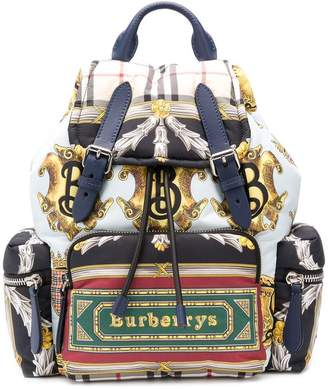 Burberry logo archive scarf backpack