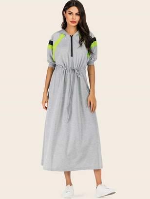 Shein Color Block Zip Half Drawstring Hoodie Dress