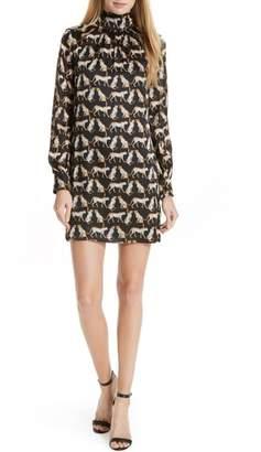 Milly Cheetah Print High Neck Silk Dress