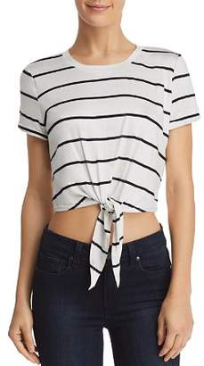 Aqua Tie-Front Cropped Striped Tee - 100% Exclusive