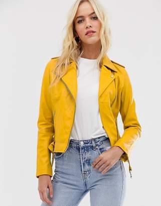 Barneys New York coloured leather biker jacket in mustard