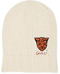 Gucci Men's Tiger-Appliquéd Wool Beanie - Ivorybone