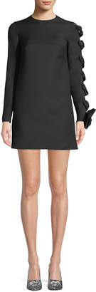 Valentino Long-Sleeve Wool-Cady Dress with Woven Sleeve Detail