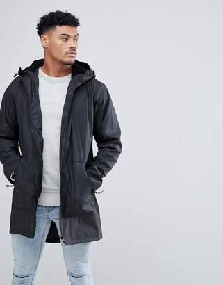 Asos DESIGN shower resistant rain coat with fleece lined hood in black