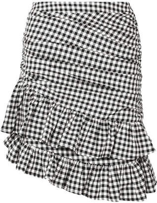 Maggie Marilyn - See You At Coco's Ruffled Gingham Cotton Mini Skirt - Black
