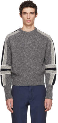 Thom Browne Grey Articulated Stripe Classic Crewneck Sweater