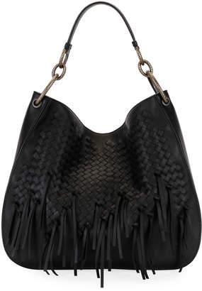 Bottega Veneta Large Loop Fringe Intrecciato Leather Hobo Bag