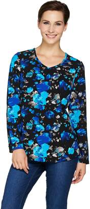 Denim & Co. Printed Woven V Neck Blouse