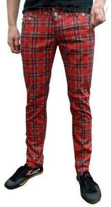 Fuzzdandy Mens Tartan Drainpipe Pants Red Check Skinny Slim Mod Punk Jeans