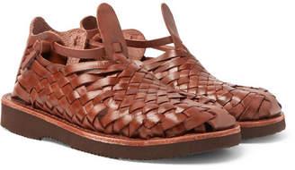 Yuketen Crus Woven Leather Sandals - Brown