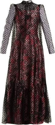 Erdem Eilian tulle-overlay floral-jacquard gown