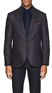 Brunello Cucinelli Men's Denim-Effect Wool Three-Button Sportcoat - Navy