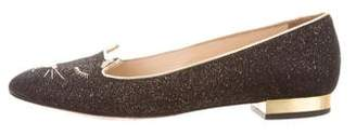 Charlotte Olympia Leather Kitty Flats