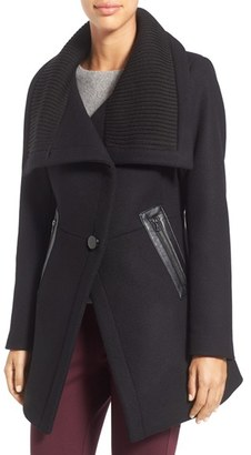 Women's Trina Turk 'Maddi' Knit Collar Cutaway Wool Blend Coat $495 thestylecure.com