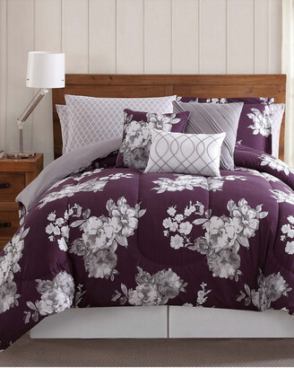 Style 212 Peony Garden Floral Purple 12Pc Queen Bed Ensemble