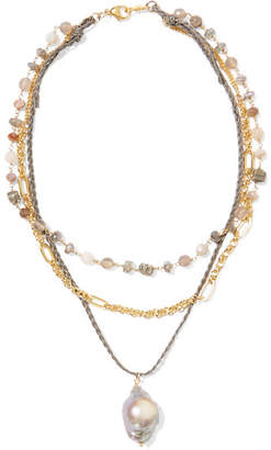 Chan Luu Layered Gold-plated And Cord Multi-stone Necklace - one size
