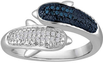 FINE JEWELRY 1/10 CT. T.W. White and Color-Enhanced Blue Diamond Sterling Silver Dolphin Ring