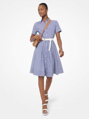 MICHAEL Michael Kors Striped Poplin Pleated Shirtdress