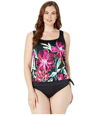 Maxine Of Hollywood Swimwear Plus Size in Full Bloom Banded Scoop Blouson Tankini Top