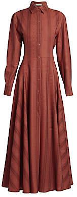 Alaia Women's Pindot Maxi Silk Shirtdress