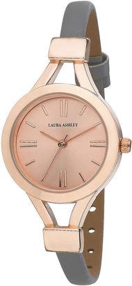 Laura Ashley Womens Grey Thin Strap Rose Gold Case Watch La31011Rg $395 thestylecure.com