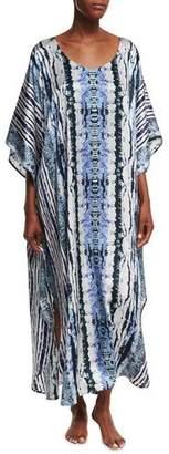 Neiman Marcus Tie-Dye Silk Lounge Caftan