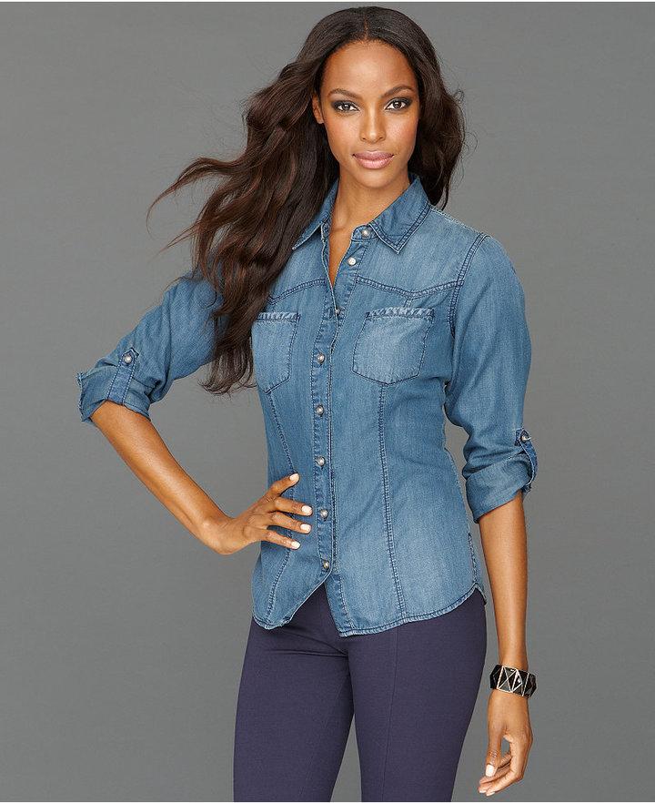 INC International Concepts Petite Shirt, Long-Sleeve Chambray