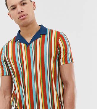 944a680364 Asos Design DESIGN Tall revere collar polo in vertical stripes