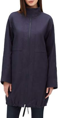 Lafayette 148 New York Minerva Stand-Collar Zip-Front Long-Sleeve Jacket