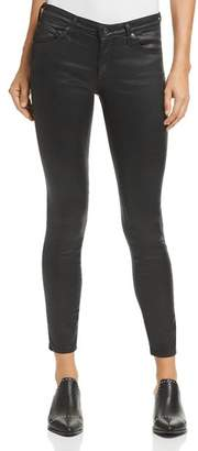 AG Jeans Coated Legging Ankle Jeans in Leatherette Super Black