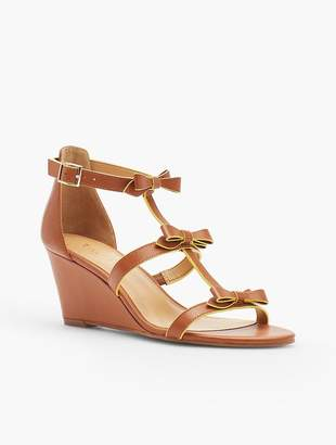 Talbots Royce Bow Wedge Sandals - Vachetta Leather