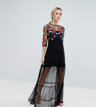 Asos Mesh Maxi Dress with Embroidery