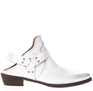 Coral Blue White Leather Vintage Texan Mule