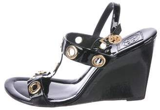 Tory Burch Grommet Patent Leather Wedges