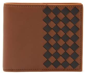 Bottega Veneta Bi Fold Colour Blocked Intrecciato Wallet - Mens - Dark Brown