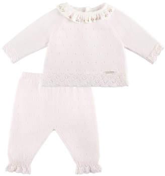 Pili Carrera Ruffle-Collar Sweater w/ Matching Leggings, Pink, Size 1-6 Months